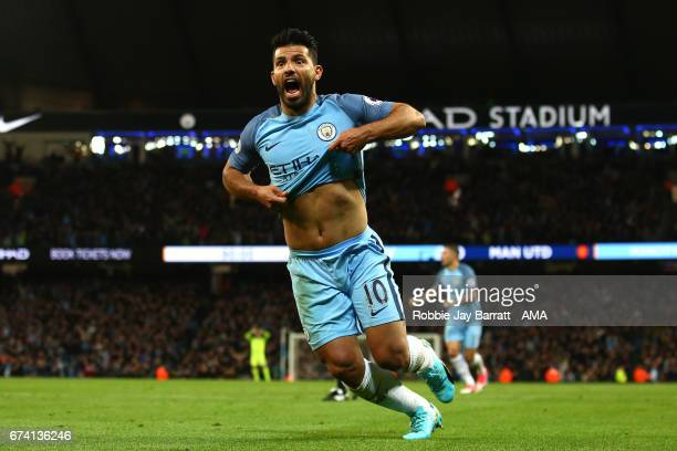 Sergio Aguero of Manchester City reacts during the Premier League match between Manchester City and Manchester United at Etihad Stadium on April 27...