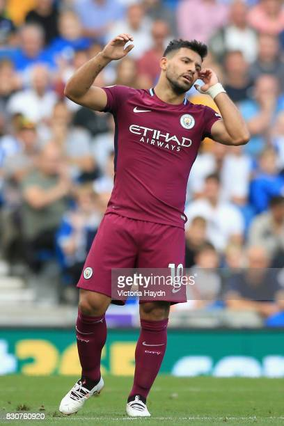 Sergio Aguero of Manchester City reacts during the Premier League match between Brighton and Hove Albion and Manchester City at the Amex Stadium on...