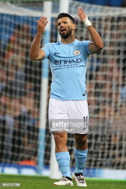 Sergio Aguero of Manchester City reacts during the UEFA Champions League Group F match between Manchester City and Shakhtar Donetsk at Etihad Stadium...