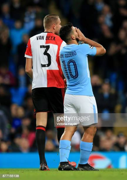 Sergio Aguero of Manchester City reacts during the UEFA Champions League group F match between Manchester City and Feyenoord at Etihad Stadium on...