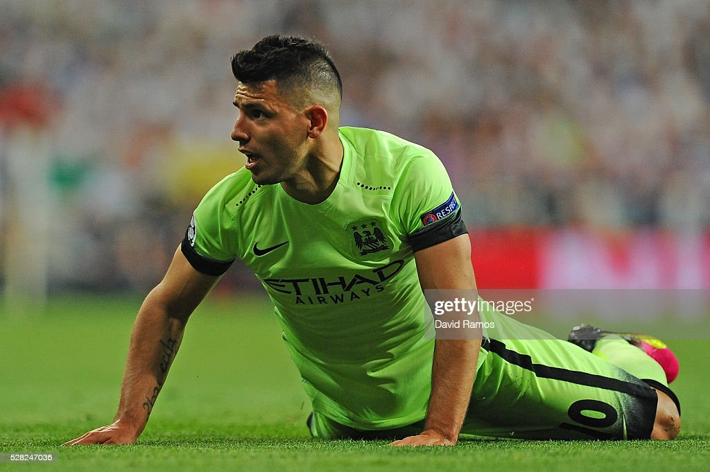 <a gi-track='captionPersonalityLinkClicked' href=/galleries/search?phrase=Sergio+Aguero&family=editorial&specificpeople=1100704 ng-click='$event.stopPropagation()'>Sergio Aguero</a> of Manchester City reacts during the UEFA Champions League semi final, second leg match between Real Madrid and Manchester City FC at Estadio Santiago Bernabeu on May 4, 2016 in Madrid, Spain.
