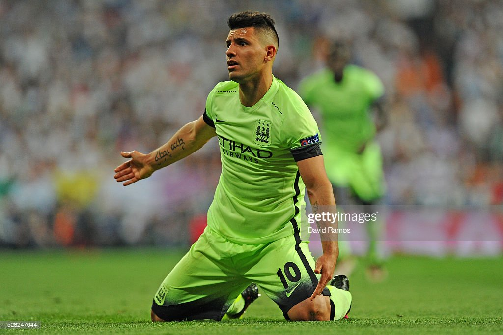 Sergio Aguero of Manchester City reacts during the UEFA Champions League semi final, second leg match between Real Madrid and Manchester City FC at Estadio Santiago Bernabeu on May 4, 2016 in Madrid, Spain.