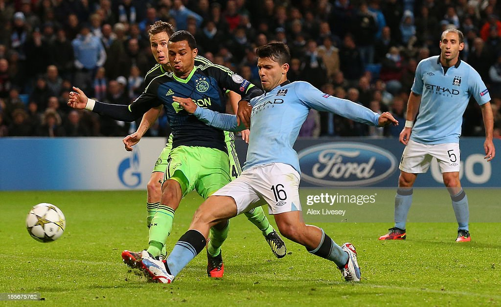 Sergio Aguero of Manchester City scores a disallowed goal during the UEFA Champions League Group D match between Manchester City FC and Ajax Amsterdam at the Etihad Stadium on November 6, 2012 in Manchester, England.