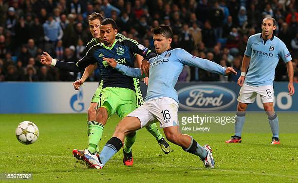 Sergio Aguero of Manchester City scores a disallowed goal during the UEFA Champions League Group D match between Manchester City FC and Ajax...