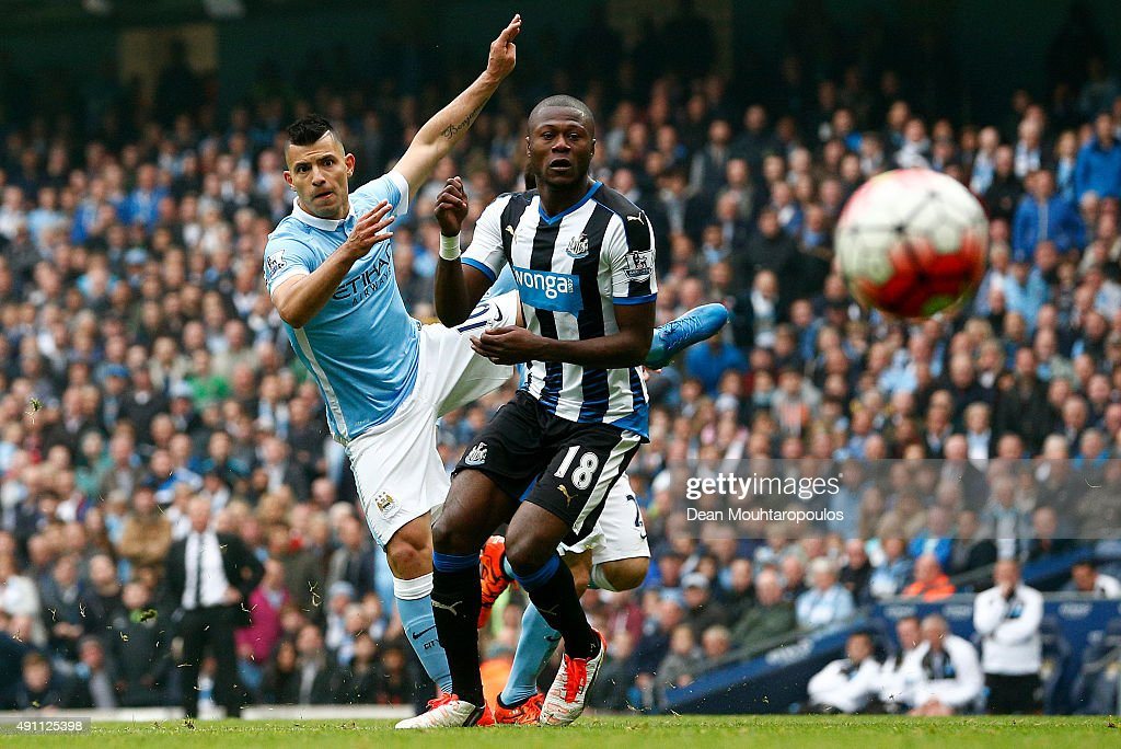 Sergio Aguero of Manchester City scores his fourth and team's fifth goal during the Barclays Premier League match between Manchester City and Newcastle United at Etihad Stadium on October 3, 2015 in Manchester, United Kingdom.
