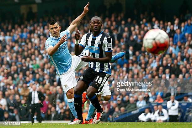 Sergio Aguero of Manchester City scores his fourth and team's fifth goal during the Barclays Premier League match between Manchester City and...