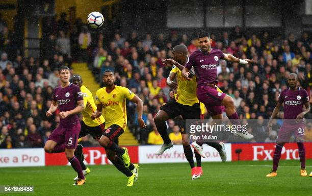 Sergio Aguero of Manchester City scores his sides first goal during the Premier League match between Watford and Manchester City at Vicarage Road on...