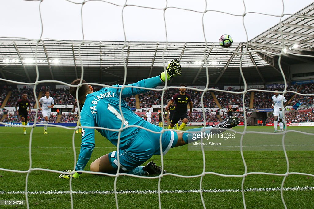 Sergio Aguero of Manchester City scores his sides second goal during the Premier League match between Swansea City and Manchester City at the Liberty Stadium on September 24, 2016 in Swansea, Wales.