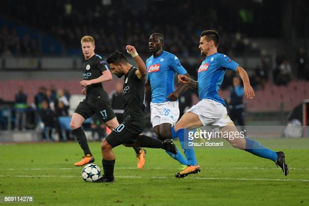 Sergio Aguero of Manchester City scores his sides third goal during the UEFA Champions League group F match between SSC Napoli and Manchester City at...