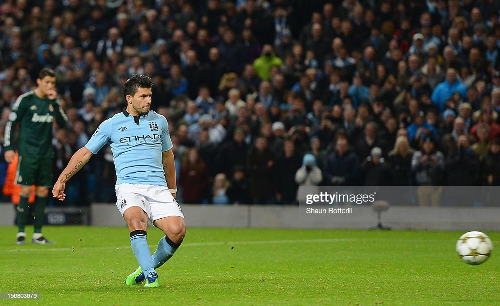 Sergio Aguero of Manchester City scores his team's first goal, from a penalty, to make the score 1-1 during the UEFA Champions League Group D match between Manchester City FC and Real Madrid CF at the Etihad Stadium on November 21, 2012 in Manchester, England.