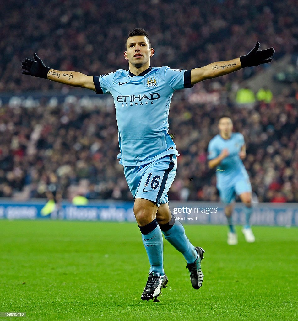 Sergio Aguero of Manchester City scores his team's fourth goal during the Barclays Premier League match between Sunderland and Manchester City at The...