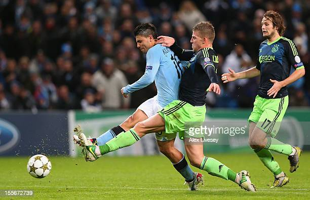 Sergio Aguero of Manchester City scores his team's second goal during the UEFA Champions League Group D match between Manchester City FC and Ajax...