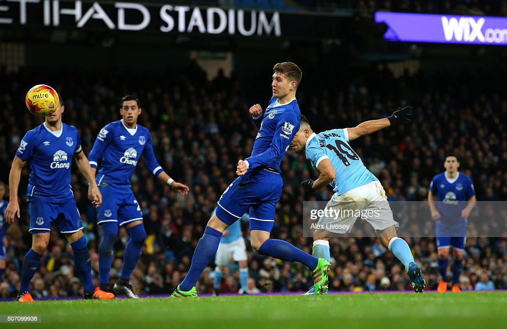 Sergio Aguero of Manchester City scores his team's third goal during the Capital One Cup Semi Final, second leg match between Manchester City and Everton at the Etihad Stadium on January 27, 2016 in Manchester, England.