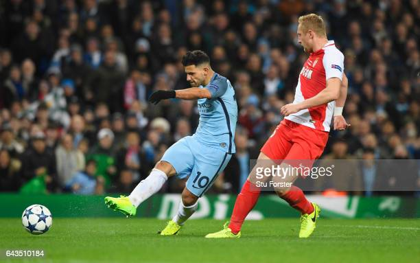 Sergio Aguero of Manchester City scores their second goal during the UEFA Champions League Round of 16 first leg match between Manchester City FC and...