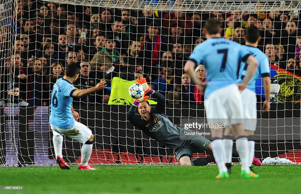 Sergio Aguero of Manchester City sees his penalty saved by Marc-Andre ter Stegen of Barcelona during the UEFA Champions League Round of 16 second leg match between Barcelona and Manchester City at Camp Nou on March 18, 2015 in Barcelona, Spain.