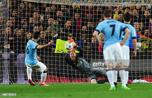 Sergio Aguero of Manchester City sees his penalty saved by MarcAndre ter Stegen of Barcelona during the UEFA Champions League Round of 16 second leg...