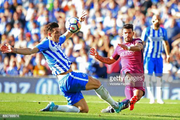 Sergio Aguero of Manchester City shoots during the Premier League match between Brighton and Hove Albion and Manchester City at the Amex Stadium on...