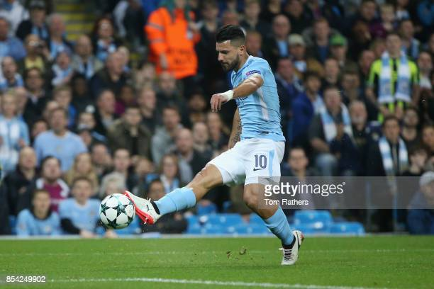 Sergio Aguero of Manchester City shoots during the UEFA Champions League Group F match between Manchester City and Shakhtar Donetsk at Etihad Stadium...