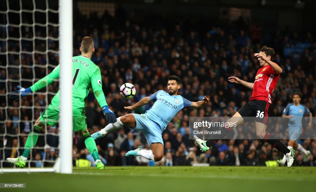 Sergio Aguero of Manchester City shoots on goal during the Premier League match between Manchester City and Manchester United at Etihad Stadium on April 27, 2017 in Manchester, England.