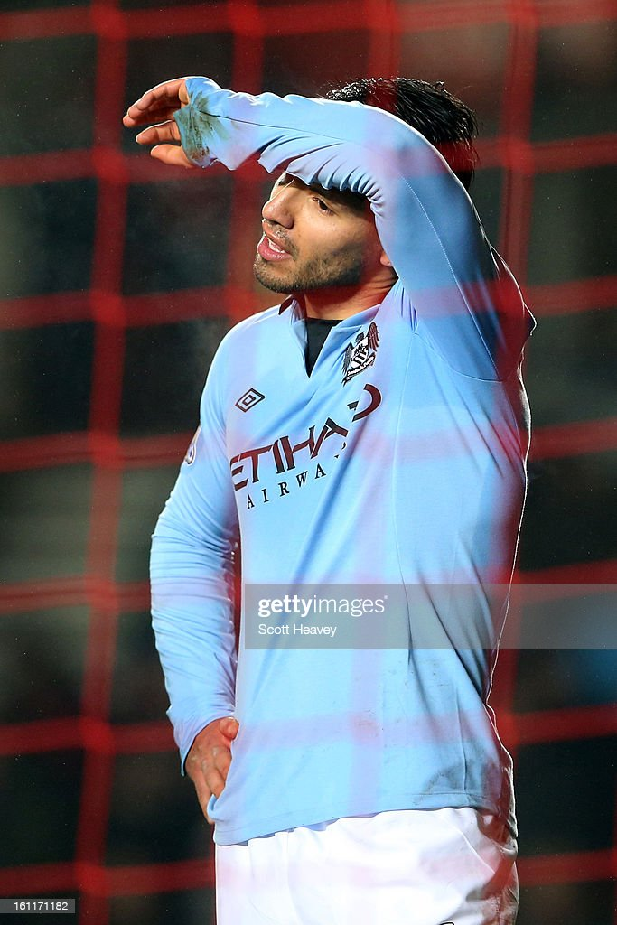 <a gi-track='captionPersonalityLinkClicked' href=/galleries/search?phrase=Sergio+Aguero&family=editorial&specificpeople=1100704 ng-click='$event.stopPropagation()'>Sergio Aguero</a> of Manchester City shows his frustration during the Barclays Premier League match between Southampton and Manchester City at St Mary's Stadium on February 9, 2013 in Southampton, England.