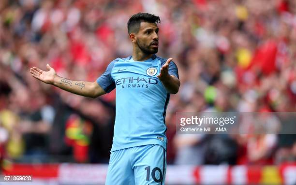 Sergio Aguero of Manchester City shrugs his shoulders after he has a goal disallowed during the Emirates FA Cup semifinal match between Arsenal and...