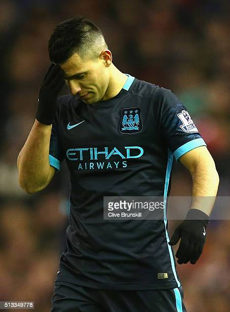 Sergio Aguero of Manchester City stands dejected during the Barclays Premier League match between Liverpool and Manchester City at Anfield on March 2...