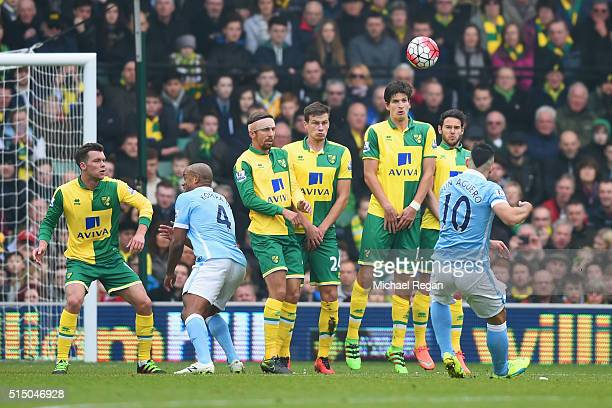 Sergio Aguero of Manchester City takes a free kick during the Barclays Premier League match between Norwich City and Manchester City at Carrow Road...
