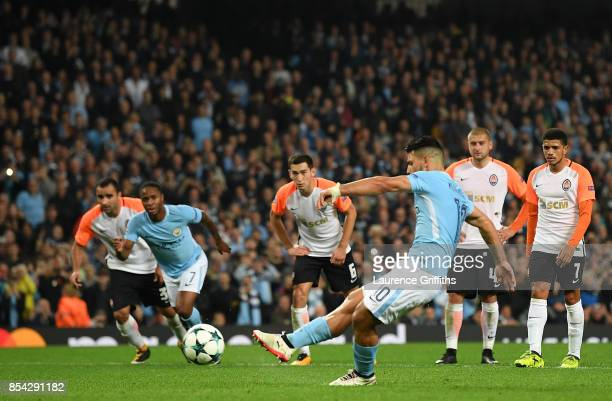 Sergio Aguero of Manchester City takes a penalty but it is saved during the UEFA Champions League Group F match between Manchester City and Shakhtar...