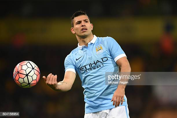 Sergio Aguero of Manchester City throws the ball during the Emirates FA Cup third round match between Norwich City and Manchester City at Carrow Road...