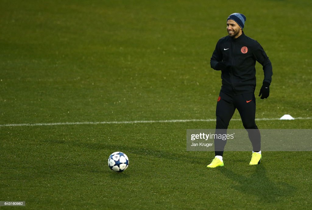 Sergio Aguero of Manchester City warms up during a Manchester City training session and press conference ahead of their UEFA Champions League Round of 16 match against Monaco at Etihad Campus on February 20, 2017 in Manchester, England.