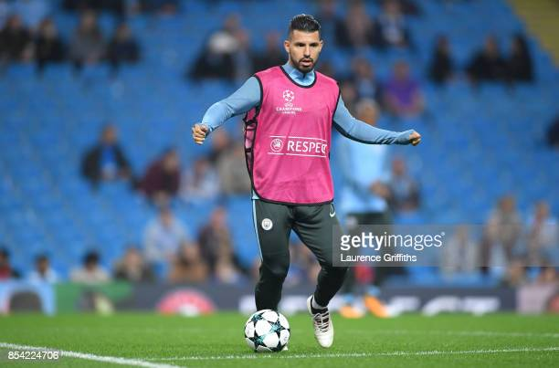 Sergio Aguero of Manchester City warms up prior to the UEFA Champions League Group F match between Manchester City and Shakhtar Donetsk at Etihad...