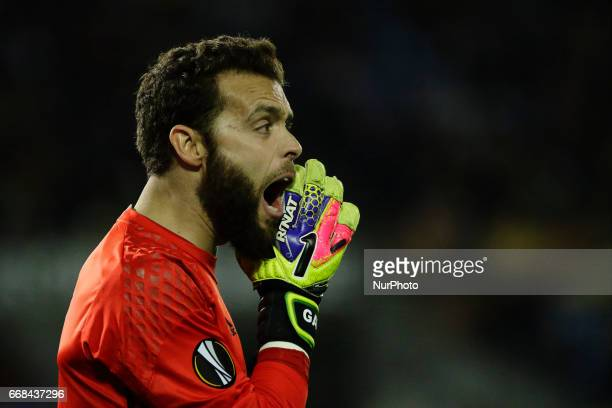 Sergio Alvarez goalkeeper of Celta de Vigo reacts during the UEFA Europe League Round of 4 first leg match between Celta de Vigo and KRC Genk FC at...
