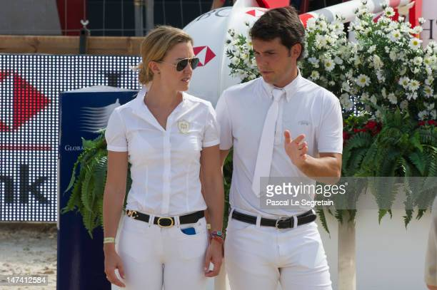 Sergio Alvarez Moya and Marta Ortega Perez attend the Prix SBM during the Monaco International Jumping as part of Global Champion Tour on June 29...