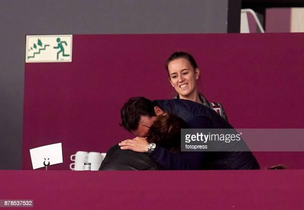 Sergio Alvarez Moya kisses Nina Ulenberg while attending the Madrid Horse Week 2017 at IFEMA on November 24 2017 in Madrid Spain
