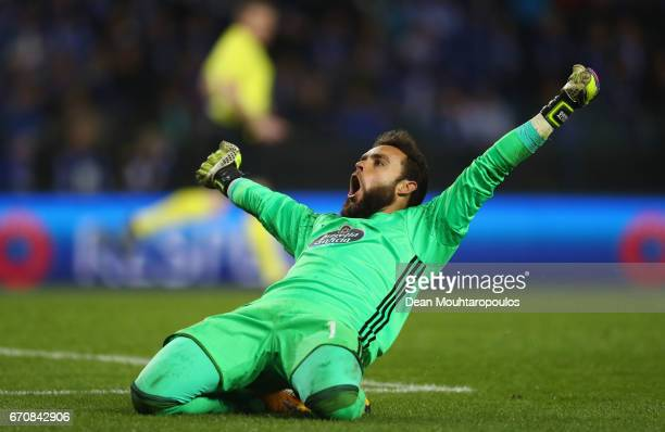 Sergio Alvarez of Celta Vigo celebrates after the UEFA Europa League quarter final second leg between KRC Genk and Celta Vigo at Luminus Arena on...