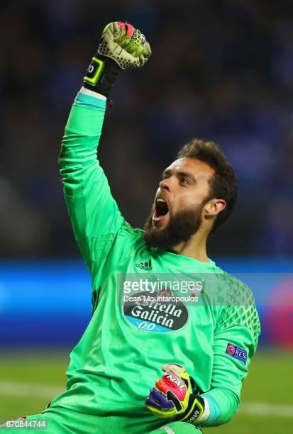 Sergio Alvarez of Celta Vigo celebrates after the UEFA Europa League quarter final second leg between KRC Genk and Celta Vigo at Luminus Arena on...