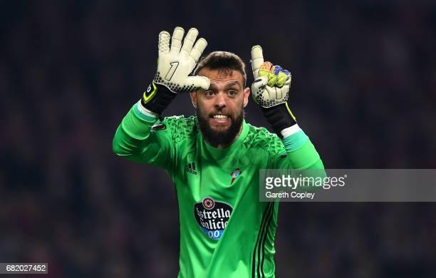 Sergio Alvarez of Celta Vigo reacts during the UEFA Europa League semi final second leg match between Manchester United and Celta Vigo at Old...