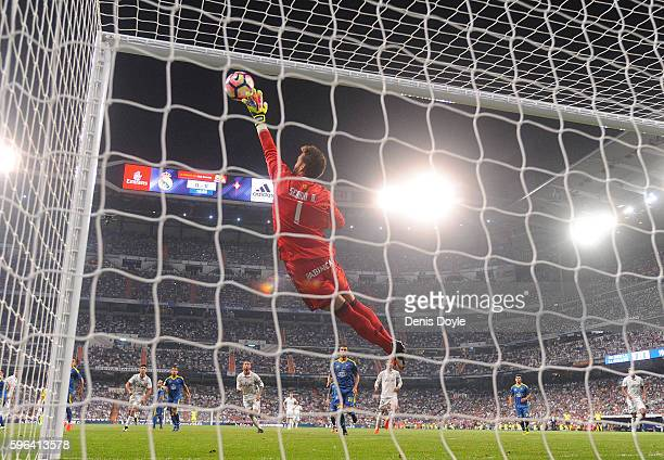 Sergio Alvarez of RC Celta de Vigo makes a save during the La Liga match between Real Madrid CF and RC Celta de Vigo at Estadio Santiago Bernabeu on...