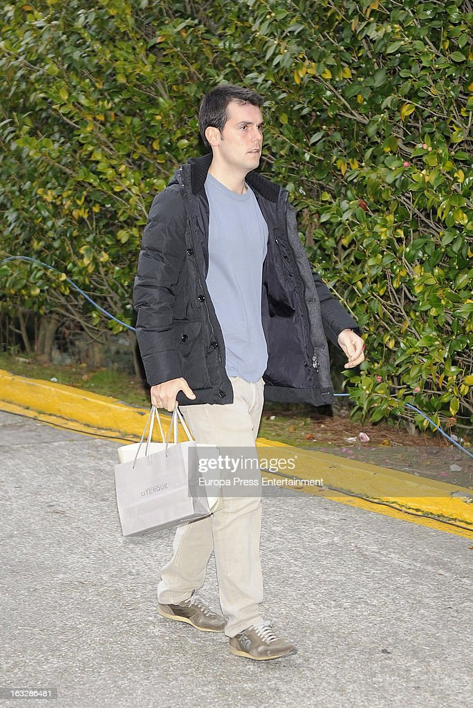 Sergio Alvarez visits his wife Marta Ortega after giving birth her first son Amancio Alvarez at Quiron Hospital on March 6, 2013 in A Coruna, Spain.