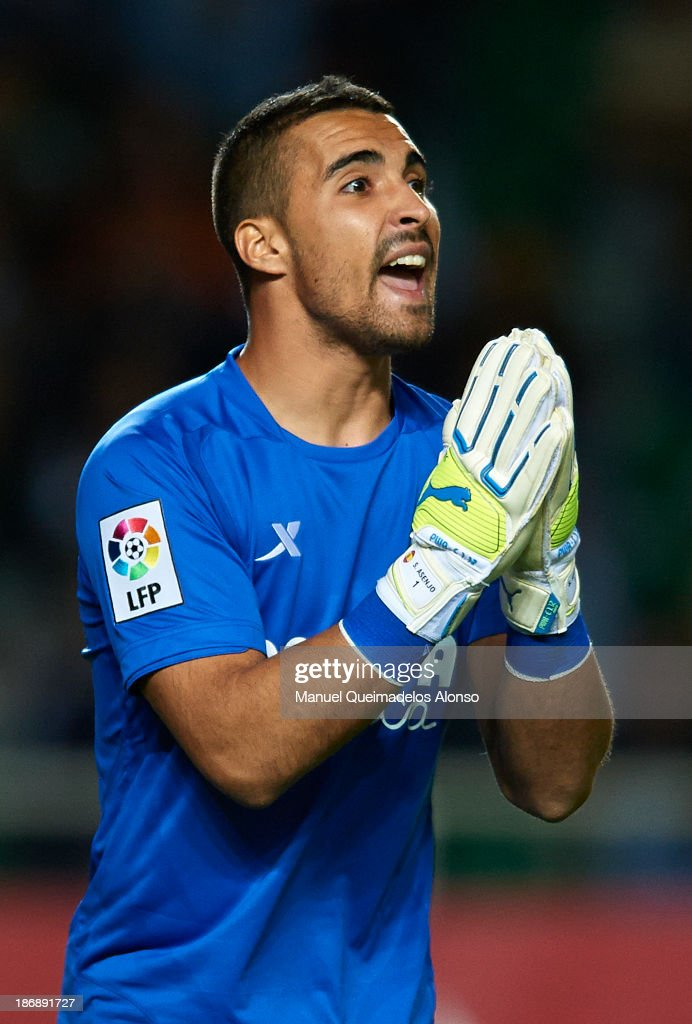 <a gi-track='captionPersonalityLinkClicked' href=/galleries/search?phrase=Sergio+Asenjo&family=editorial&specificpeople=4682878 ng-click='$event.stopPropagation()'>Sergio Asenjo</a> of Villarreal reacts during the La Liga match between Elche CF and Villarreal CF at Estadio Manuel Martinez Valero on November 4, 2013 in Elche, Spain.