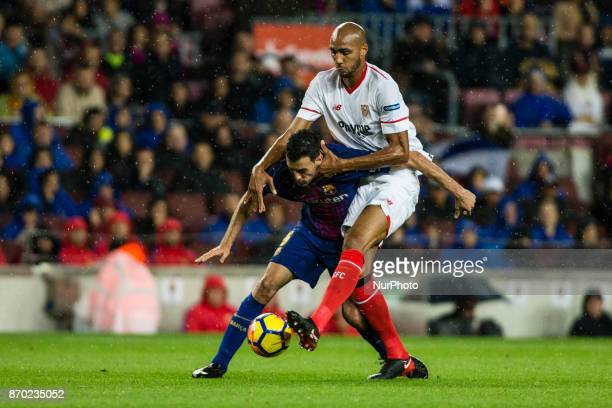 Sergio Busquets from Spain of FC Barcelona during the La Liga match between FC Barcelona v Sevilla at Camp Nou Stadium on November 04 2017 in...