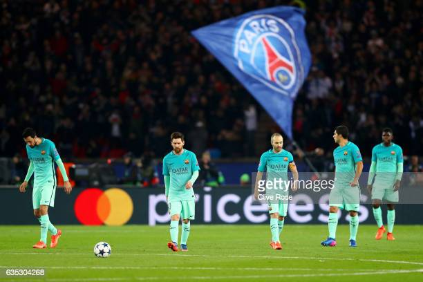 Sergio Busquets Lionel Messi Andres Iniesta Luis Suarez and Samuel Umtiti of Barcelona react after conceding a goal during the UEFA Champions League...