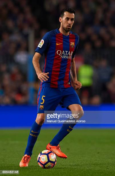 Sergio Busquets of Barcelona in action during the La Liga match between FC Barcelona and Valencia CF at Camp Nou Stadium on March 19 2017 in...