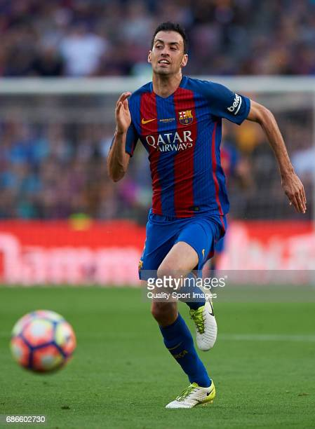 Sergio Busquets of Barcelona in action during the La Liga match between FC Barcelona and SD Eibar at Camp Nou Stadium on May 21 2017 in Barcelona...