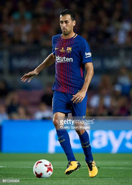 Sergio Busquets of Barcelona in action during the Supercopa de Espana Supercopa Final 1st Leg match between FC Barcelona and Real Madrid at Camp Nou...