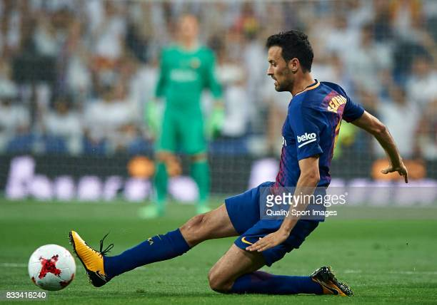 Sergio Busquets of Barcelona in action during the Supercopa de Espana Supercopa Final 2nd Leg match between Real Madrid and FC Barcelona at Estadio...