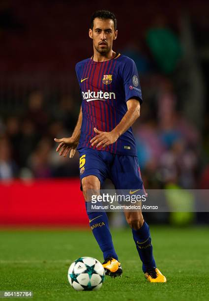 Sergio Busquets of Barcelona in action during the UEFA Champions League group D match between FC Barcelona and Olympiakos Piraeus at Camp Nou on...