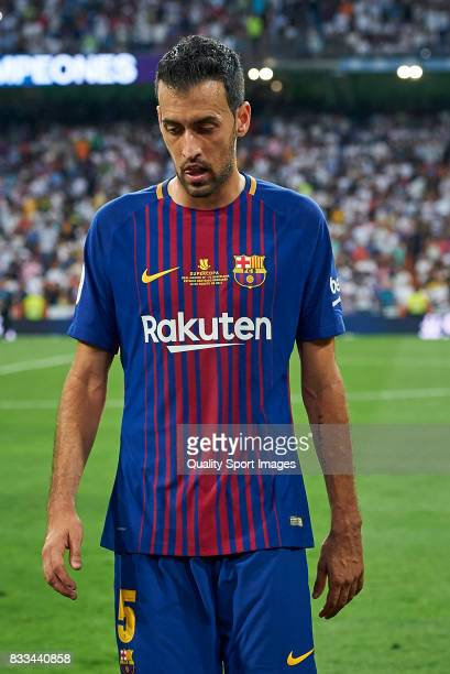 Sergio Busquets of Barcelona looks dejected after the end of the Supercopa de Espana Supercopa Final 2nd Leg match between Real Madrid and FC...