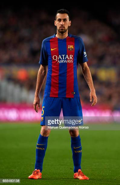 Sergio Busquets of Barcelona looks on during the La Liga match between FC Barcelona and Valencia CF at Camp Nou Stadium on March 19 2017 in Barcelona...