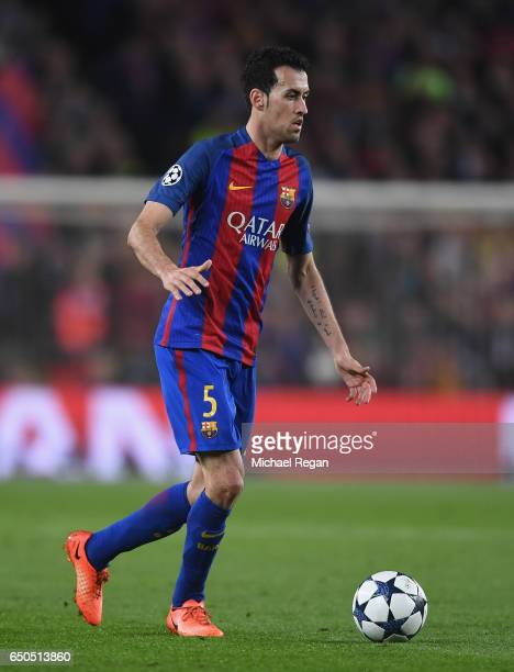 Sergio Busquets of Barcelona looks on during the UEFA Champions League Round of 16 second leg match between FC Barcelona and Paris SaintGermain at...